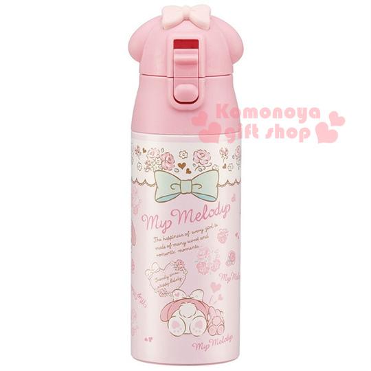 〔小禮堂〕美樂蒂 造型不鏽鋼保溫瓶《粉.臉型蓋.多動作.玫瑰.360ml》保溫保冷OK!