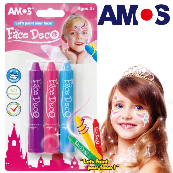 韓國AMOS 3色人體彩繪棒-粉色系(台灣總代理公司貨)