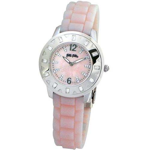 Folli Follie 華麗晶鑽亮彩腕錶/粉紅色/WF6A018SSP