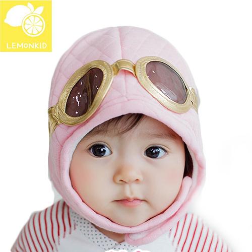 Lemonkid◆冬季可愛保暖飛行員眼鏡造型帽兒童帽冬帽-粉色