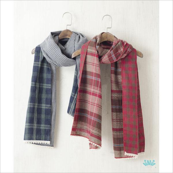 viNvi Lady 日系雙面花色格紋布蕾邊棉質圍巾