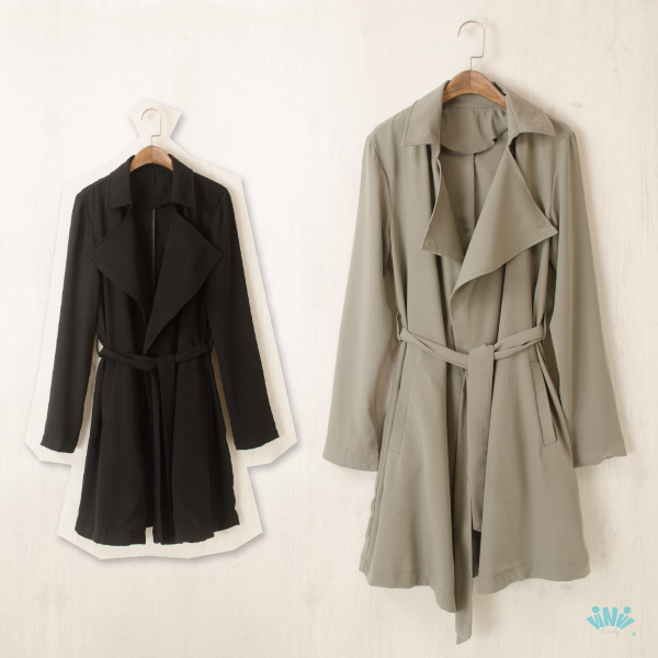 viNvi Lady 騎士風修身綁帶開襟厚雪紡長版風衣 薄外套 薄大衣