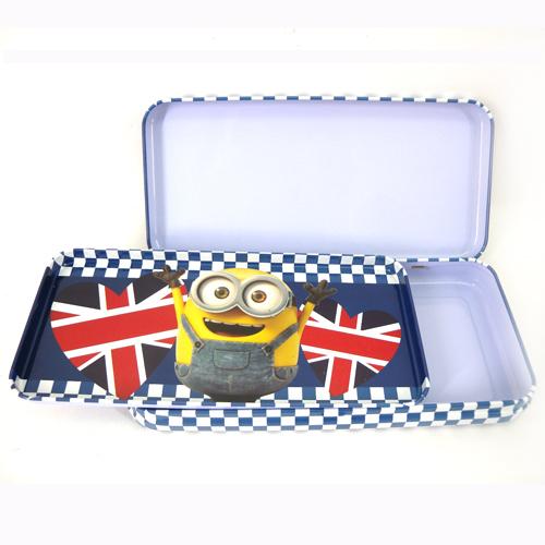 【真愛日本】15092200033 超大雙層鐵筆盒-小小兵藍 小小兵 神偷奶爸 凱文 筆袋 文具 鐵鉛筆盒