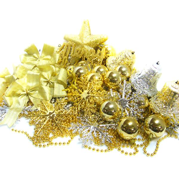 聖誕裝飾配件包組合~金銀色系 (7尺(210cm)樹適用)(不含聖誕樹)(不含燈)YS-DS07005
