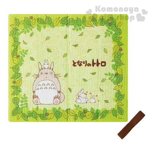 〔小禮堂〕宮崎駿 Totoro 龍貓 附束帶折疊式坐墊《綠.坐姿.樹葉滿版》居家.汽車內使用
