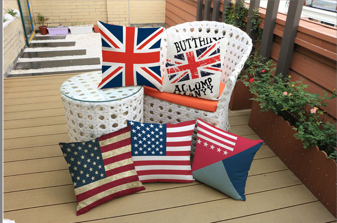 創意美國英國旗棉麻抱枕 辦公主題會所沙發靠墊