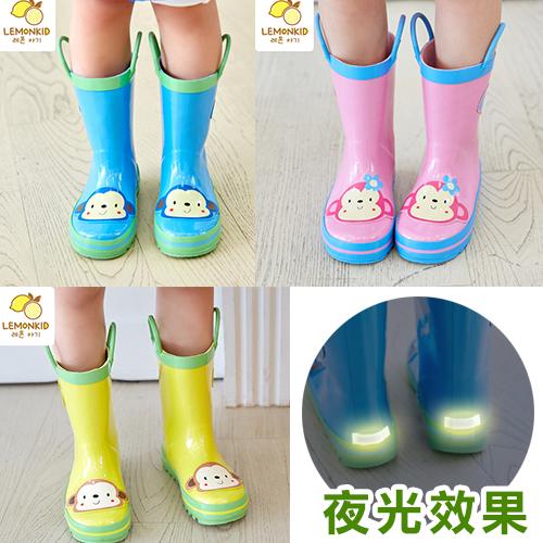 WallFree窩自在★活力小花猴安全夜光設計手提式提環橡膠兒童雨鞋