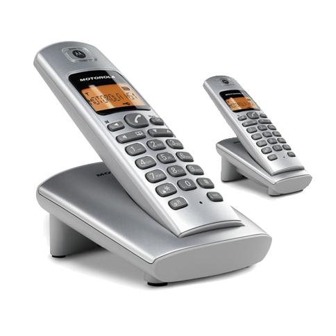 【D402】MOTOROLA摩托羅拉DECT數位無線雙子機電話 D402∥免持聽筒通話∥三方通話∥螢幕橘色背光顯示∥日系質感∥穿透力佳