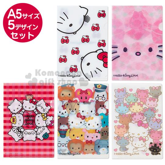 〔小禮堂〕Hello Kitty 日製L型文件夾《5入.A5.戀人/薔薇/家族/友達/貓咪》以愛之名系列