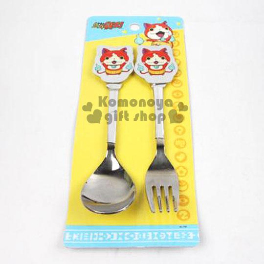 〔小禮堂韓國館〕妖怪手錶 不鏽鋼叉匙餐具組《銀.吉胖貓舉雙手》造型柄頭