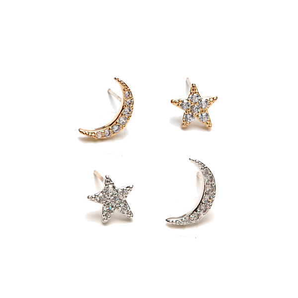 Tiny Moon & Star Charm Paved Pierces【Silver925】Silver925星月穿式耳環