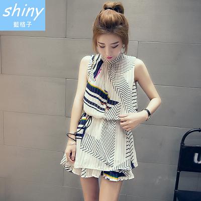 【V1032】shiny藍格子-夏日煦光‧時尚百摺皺寬鬆無袖背心連身裙