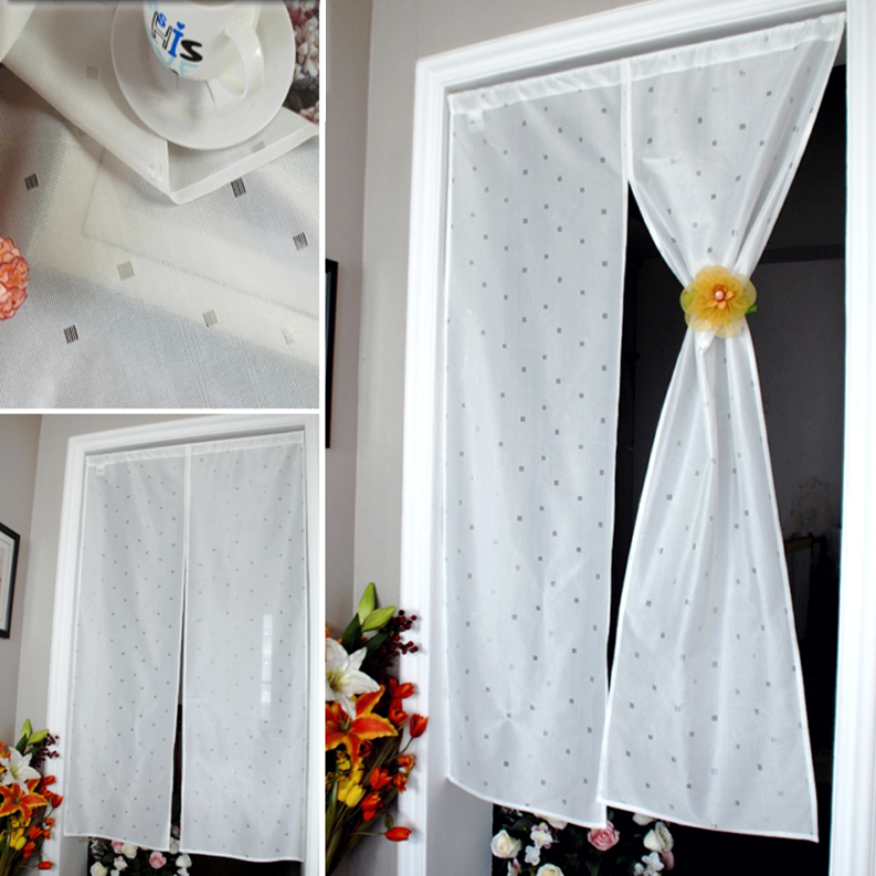 +極簡銀灰微方格門簾 【寬85高150cm】日式設計☆純白舒適+