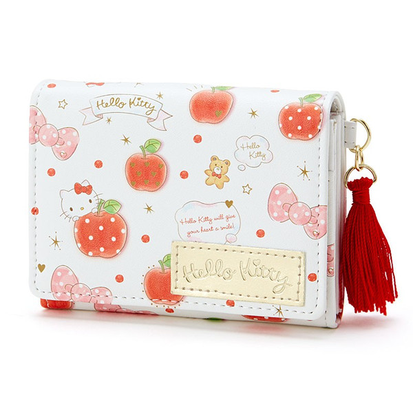 【真愛日本】16020100020 PU多層證件夾-流蘇蘋果白 KITTY 凱蒂貓 三麗鷗 卡片夾 皮夾 收納