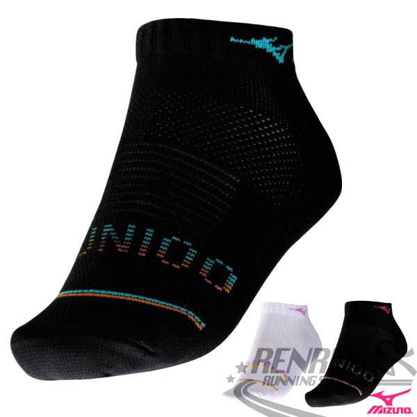 MIZUNO美津濃 女 運動薄底踝襪(黑*藍) 運動襪子