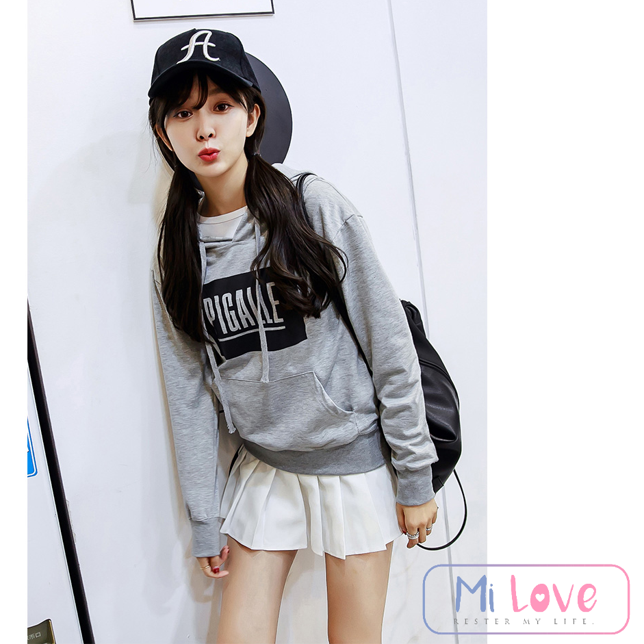 MiLove ↗ 韓版東大門新款寬鬆印花連帽長T ☆【W50】