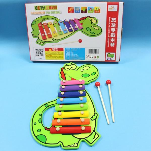恐龍手敲木琴 木製8音敲琴 敲打琴 鐵琴 音樂敲琴 敲打玩具/一個入{促250}~YF9832