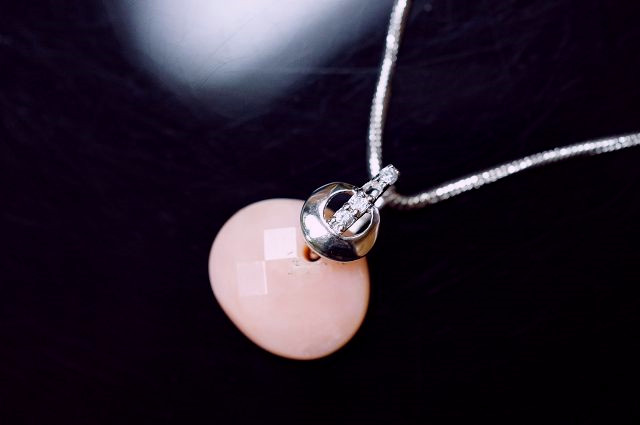 天然粉紅澳寶錢袋 & S型純銀墜頭 & 造型鑲水鑽項鍊(粉紅蛋白石(Pink Opal))項鍊。喨喨飾品獨家販售。M193