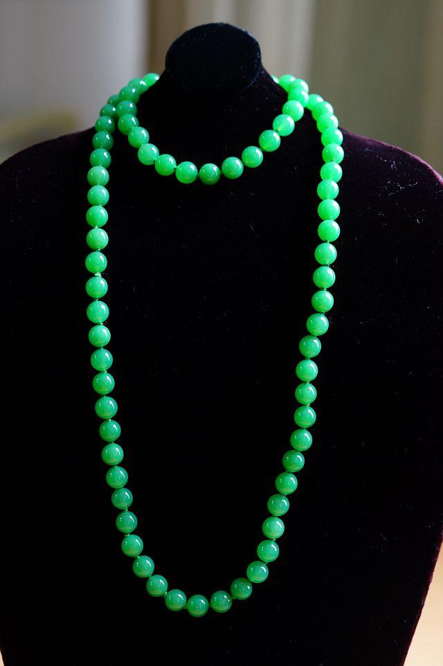 【澳洲玉套組】 手鍊 / 項鍊 色似翡翠,鮮豔之中有嫩的感覺。【喨喨飾品店】 。M286
