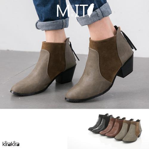 短靴-麂皮拼接後流蘇拉鍊尖頭粗跟短靴
