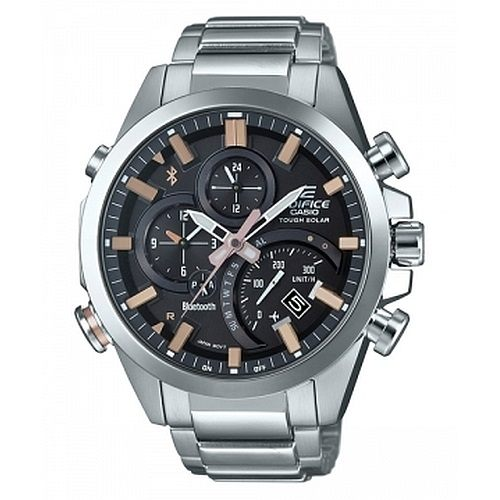 CASIO EDIFICE EQB-500D-1A2太陽能藍牙指針腕錶/灰面48mm