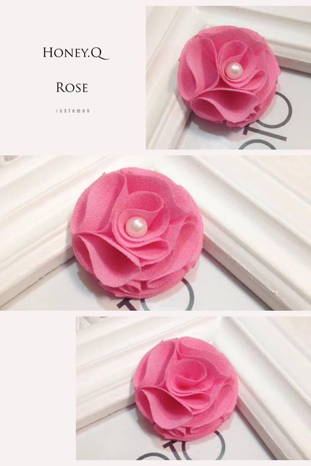 Honey Q-小巧的珍珠雪紡粉玫瑰.髮夾 / 髮圈 / 髮箍 / 髮帶 /  香蕉夾
