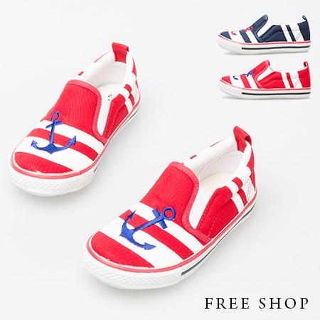 Free Shop【QSH0335】日韓系船錨海洋條紋撞色舒適低筒休閒懶人鞋童鞋‧二色(AB03) MIT台灣製