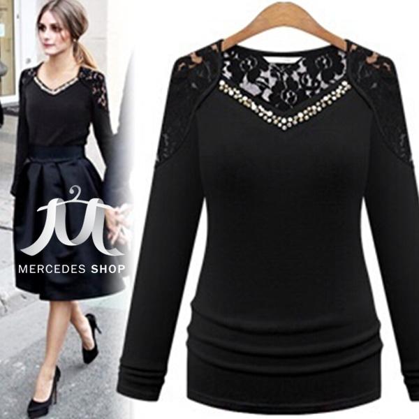 [現貨出清6折] 歐美時尚風鑽領百搭蕾絲長袖上衣-S-XL - 梅西蒂絲