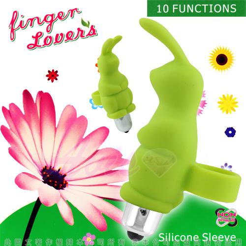 指環小兔寶*10段變頻-陰蒂刺激手指穿戴式震動環-綠色◆震蛋可拆下清洗◆情趣線上
