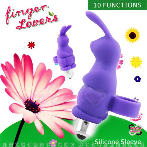 指環小兔寶*10段變頻-陰蒂刺激手指穿戴式震動環-紫色◆震蛋可拆下清洗◆情趣線上