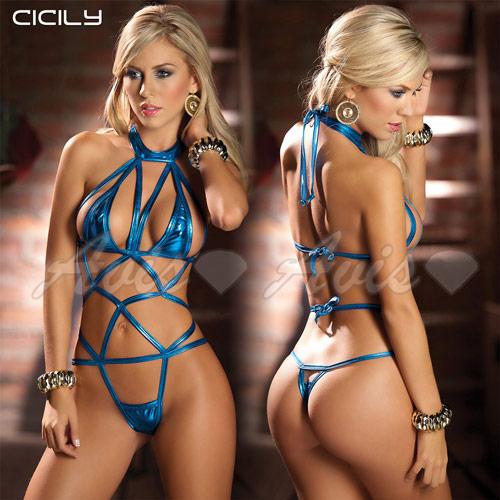 虐戀 CICILY◆情迷蜘蛛精*連身網狀塗膠仿皮性感彈力緊身衣-藍色◆AL7039-blue 情趣線上