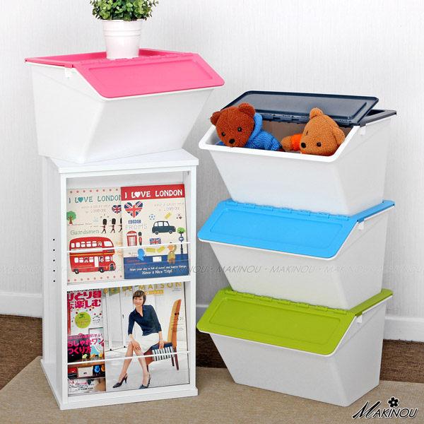 整理箱| 日本MAKINOU-斜口可疊收納箱- 0304|台灣製造塑膠收納箱