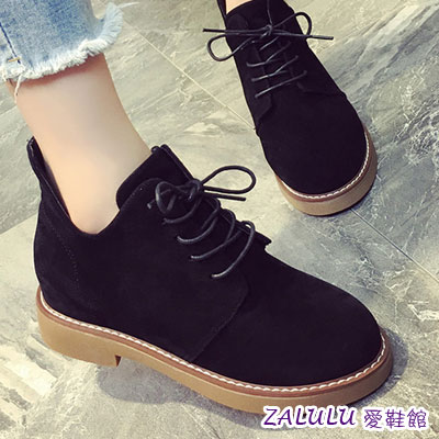 ?zalulu愛鞋館? HE158 預購 韓版流行款顯瘦V口綁帶平底紳士鞋-偏小-黑/棕/灰-36-39