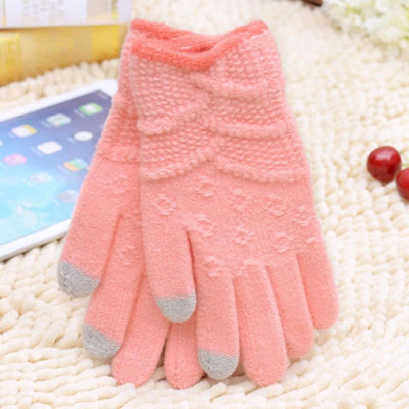 女士保暖緹花針織觸控手套 《不挑色》