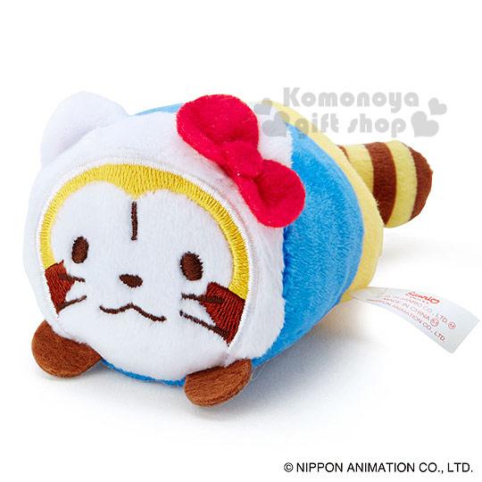 〔小禮堂〕KittyX小浣熊 造型絨毛沙包娃娃《S.黃藍白.趴姿.kitty裝扮》多個可堆疊