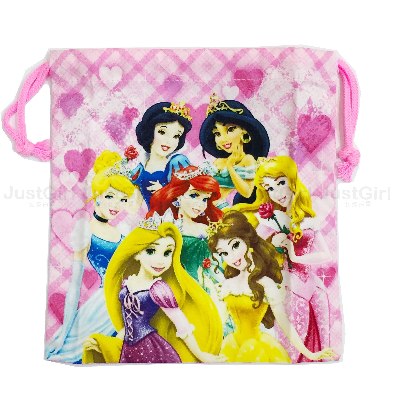 迪士尼公主 束口袋 收納袋 萬用包 貝兒愛莉兒茉莉灰姑娘 長髮公主睡美人白雪公主 居家 日本製造 JustGirl