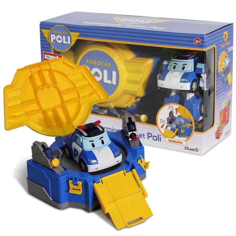 LED變形波力手提基地/ROBOCAR POLI波力 救援小英雄/可愛造形/可變形/LED閃動