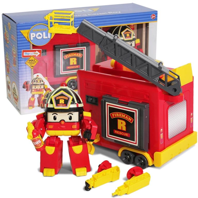 LED變形羅伊手提基地/ROBOCAR POLI波力 救援小英雄/可愛造形/可變形/LED閃動