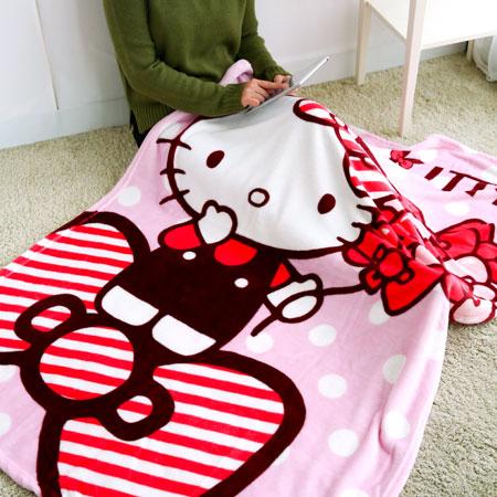 正版Hello Kitty法蘭絨毯 刷毛毯 保暖被 毛毯 懶人毯 冷氣毯 毯子 造型毯 毯被 凱蒂貓【B062458】
