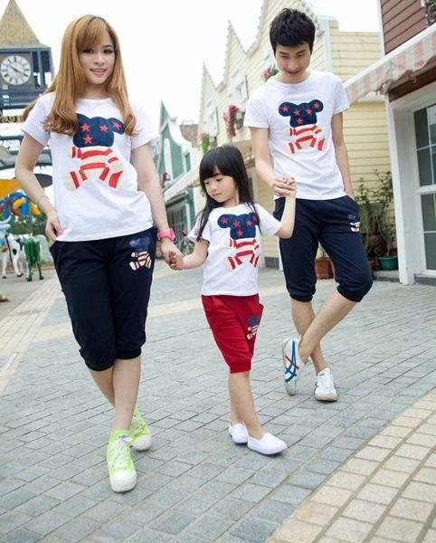 EMMA商城~兒童款星星造型米奇短袖上衣 韓版親子裝
