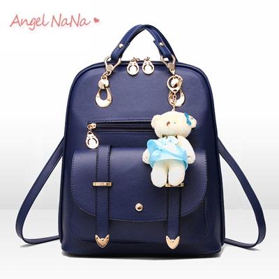 後背包。AngelNaNa韓版休閒 小熊吊飾 純色 女雙肩包【B162】