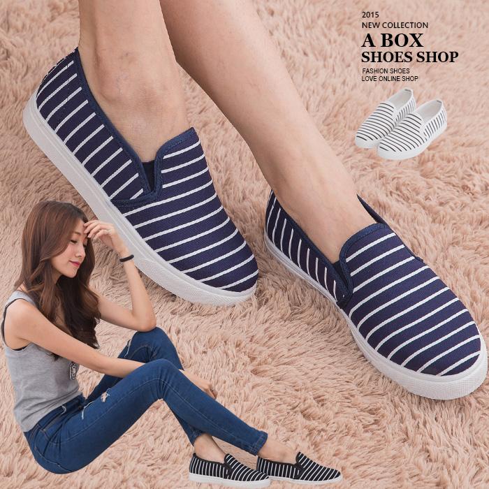 格子舖*【AW1512A】基本款百搭韓版 質感海軍風條紋 休閒帆布鞋 懶人鞋便鞋 3色