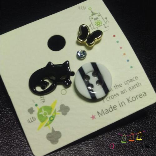 飾品耳環手鍊-可愛小小耳環-小黑貓