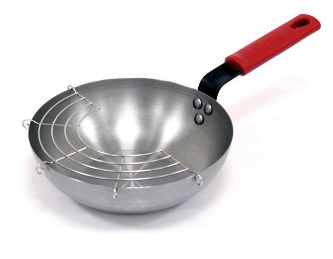 【Gusto古斯特】碳鋼輕量專業深炒鍋-22cm(贈濾油網/隔熱專用握把套)