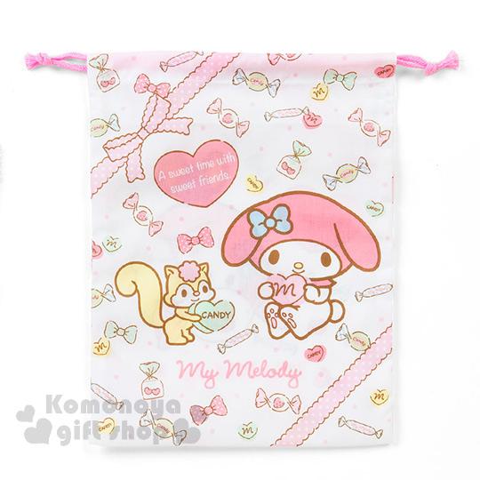 〔小禮堂〕美樂蒂 日製棉質束口袋《M.白.側坐.松鼠.糖果滿版》