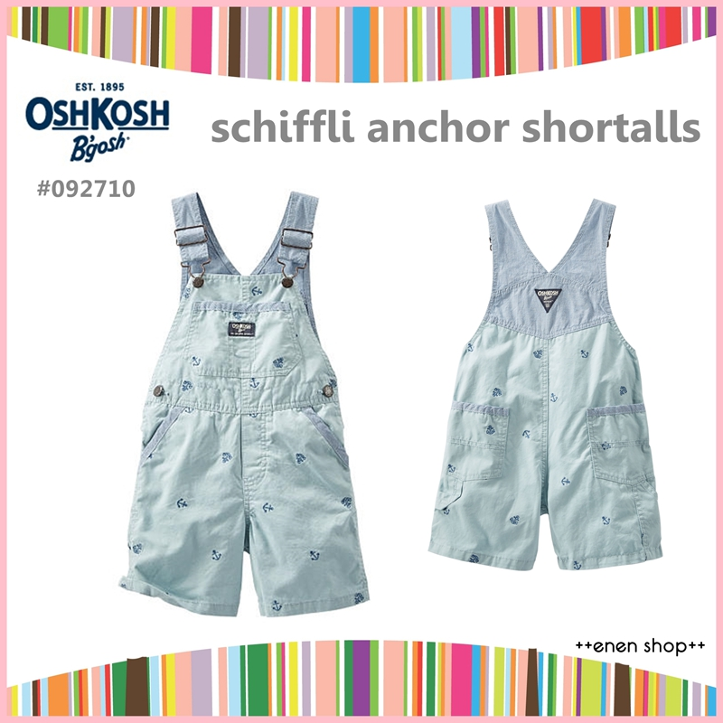 ++enen shop++ OshKosh B'gosh 淺綠船錨款吊帶短褲 ∥ 12M/18M