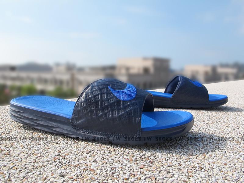 Shoestw【705474-440】NIKE BENASSI SOLARSOF 拖鞋 軟Q底 藍色 大勾 男生