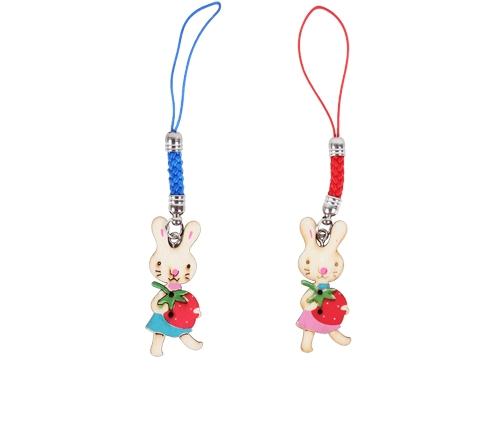 草莓兔女孩木頭吊飾 防塵塞- 手機吊飾 鑰匙圈吊飾 鄉村風