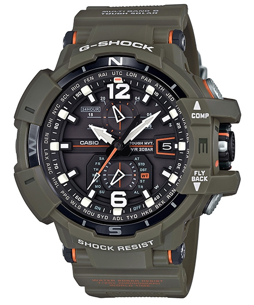 國外代購 CASIO G-SHOCK GW-A1100KH-3A 飛行表 雙顯 運動防水手錶腕錶電子錶男女錶 軍綠