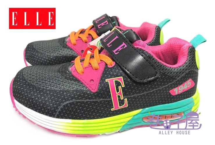【巷子屋】ELLE 女童繽紛輕量康特杯運動慢跑鞋 [52140] 黑粉 超值價$398